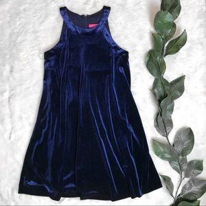 Betsey Johnson Blue Velvet Midi Dress Sleeveless